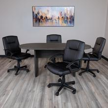 See Details - 5 Piece Rustic Gray Oval Conference Table Set with 4 Black LeatherSoft-Padded Task Chairs