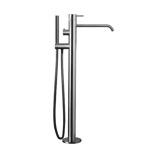"""INOX stainless steel floor-mount single-lever tubfiller with handshower 33 1/2"""" H, Satin finish"""
