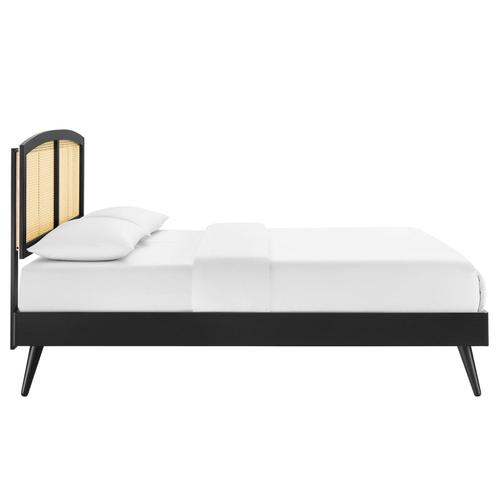 Sierra Cane and Wood Queen Platform Bed With Splayed Legs in Black