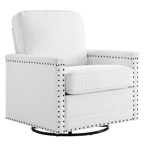 Modway - Ashton Upholstered Fabric Swivel Chair in White