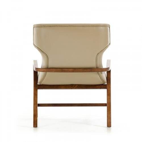 Modrest Olenna Modern Taupe & Walnut Accent Chair