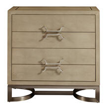 See Details - Modern Light Gray Shagreen and Metal Drawer Chest