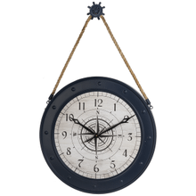 Compass Wall Clock with Ship Wheel Hanger