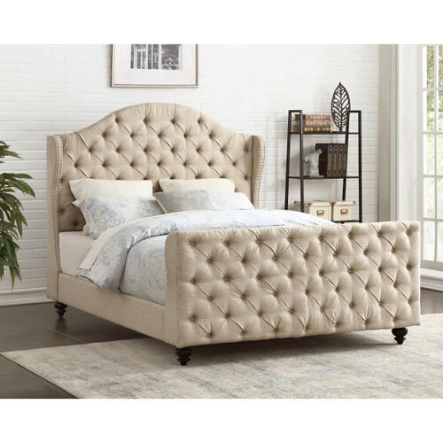 Button Tufted Linen Upholstered Queen Footboard and Side Rails