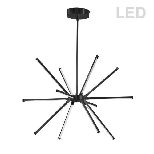 32w LED Chandelier Mb W/ Wh Acrylic Diffuser