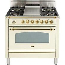 "36"" Nostalgie Series Freestanding Single Oven Gas Range with 5 Sealed Burners and Griddle in Antique White"