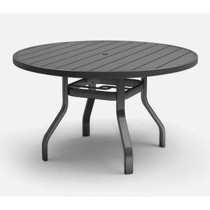 """48"""" Round Dining Table (with Hole) Ht: 27.5"""" 37XX Universal Aluminum Base (Frame Finish: Carbon)"""