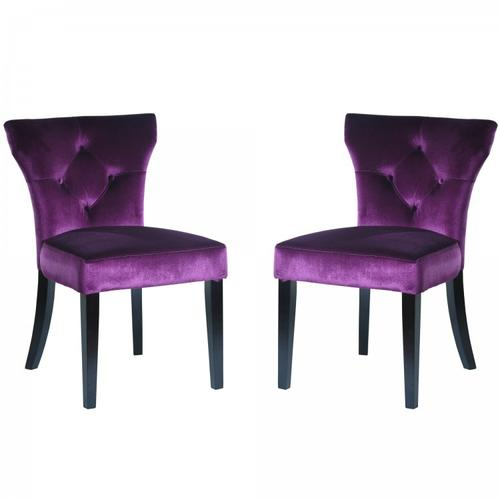 Elise Side Chair in Purple Velvet (Set Of 2)