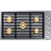 """36"""" Gas Cooktop, Silver Stainless Steel, Natural Gas"""