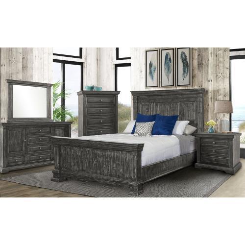 Condesa Grey Bedroom - Queen Bed, Dresser, Mirror, Chest, and Night Stand