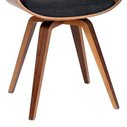 Armen Living Summer Modern Chair In Charcoal Fabric and Walnut Wood