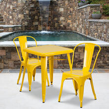 "Commercial Grade 23.75"" Square Yellow Metal Indoor-Outdoor Table Set with 2 Stack Chairs"