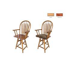 See Details - Solid Oak Barstool w/ cushion