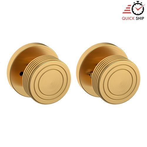Baldwin - Lifetime Satin Brass 5045 Estate Knob with 5046 Rose