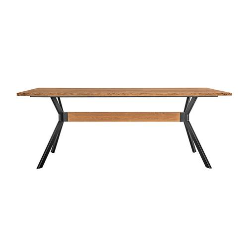 Nevada Rustic Oak Wood Trestle Base Dining Table in Balsamico