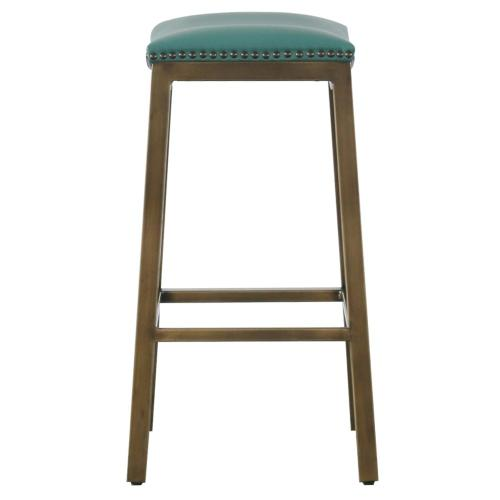 Elmo KD Bonded Leather Metal Counter Stool, Turquoise