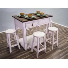 Weathered White Island W/stool