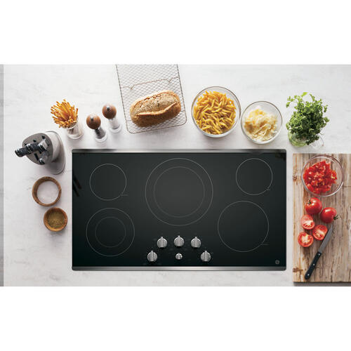 "GE 36"" Electric Smoothtop Cooktop Stainless Steel JP3536SJSS"