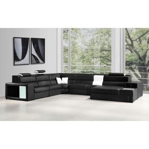 Divani Casa Polaris - Black Contemporary Leather Sectional Sofa
