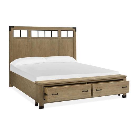 Magnussen Home - Complete Queen Panel Storage Bed w/Metal/Wood Headboard