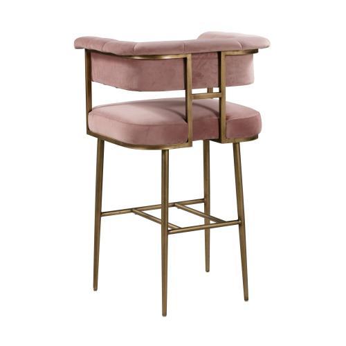 Tov Furniture - Astrid Blush Velvet Bar Stool