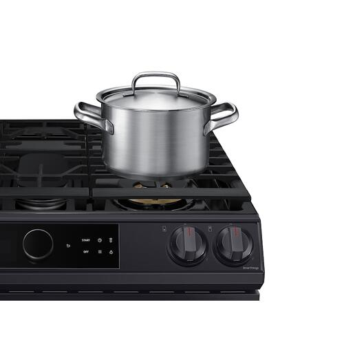 6.0 cu ft. Smart Slide-in Gas Range with Smart Dial & Air Fry in Black Stainless Steel