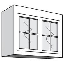 "See Details - Variable Bridge Top Unit, 2 Glass Doors with Mullions, 1 Adjustable Shelf, 12""d, 30""w "" 42""w"