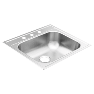 "2000 Series 25""x22"" stainless steel 20 gauge single bowl drop in sink"