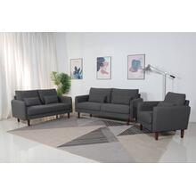 8151 3PC DARK GRAY Linen Stationary Basic Living Room SET