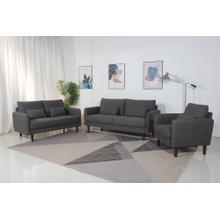 See Details - 8151 3PC DARK GRAY Linen Stationary Basic Living Room SET