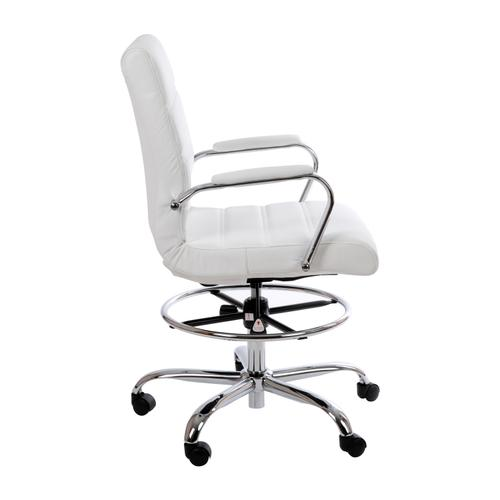 Gallery - Mid-Back White LeatherSoft Drafting Chair with Adjustable Foot Ring and Chrome Base