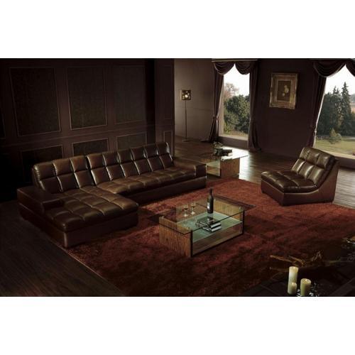 Divani Casa BO3935 Modern Brown Leather Sectional Sofa w/ Chair