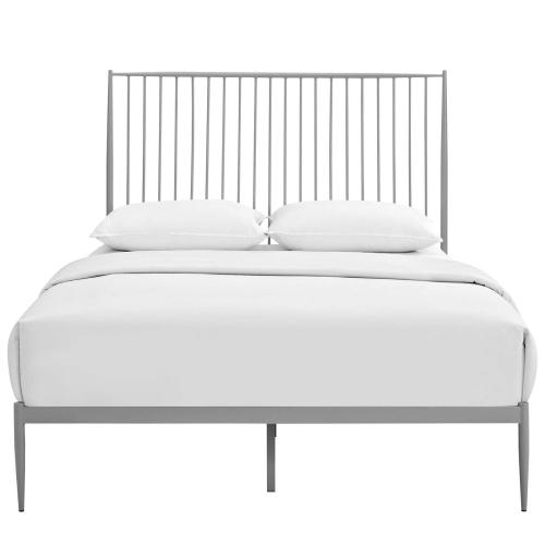 Annika Queen Platform Bed in Gray