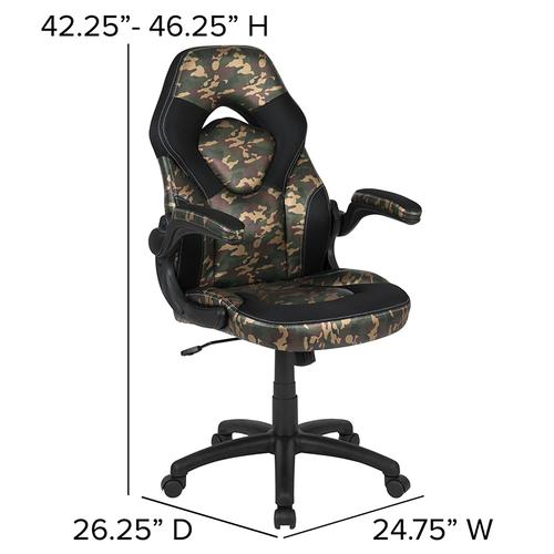 Gallery - Black Gaming Desk and Camouflage\/Black Racing Chair Set with Cup Holder, Headphone Hook & 2 Wire Management Holes