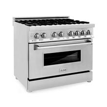 """View Product - ZLINE 36"""" Dual Fuel Range with Gas Stove and Electric Oven in Stainless Steel with Color Door Options (RA36) [Color: Stainless Steel]"""