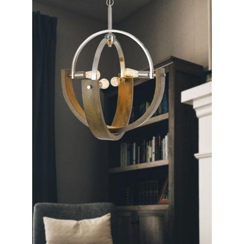 60W X 4 Rauma Metal/Wood Chandelier (Edison Bulbs Are Not included)