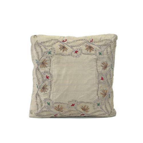 Taupe Heavily Embroidered Pillow