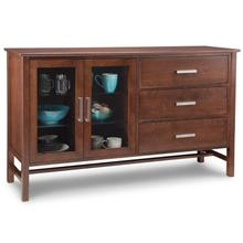 Brooklyn Sideboard W/2 Glass doors on Left & 3/Dwrs on Right with 2/Glass Adjust. Shelf