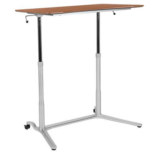"Flash Furniture - Sit-Down, Stand-Up Cherry Computer Ergonomic Desk with 37.375""W Top (Adjustable Range 29"" - 40.75"")"