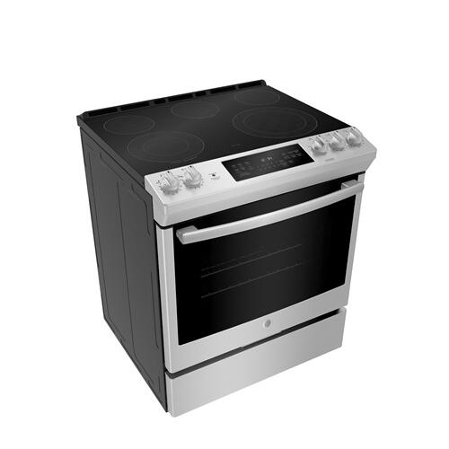 "GE 30"" Electric Slide-In Front Control True Convection Range with Storage Drawer Stainless Steel - JCS840SMSS"