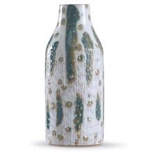 See Details - Romani Sage  18in x 7in Textured Green and White Glazed Ceramic Vase