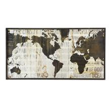 See Details - Framed Black & White Text World Map Wall Art.