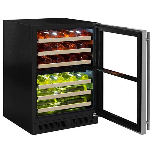 24-In Built-In High Efficiency Dual Zone Wine Refrigerator with Door Style - Stainless Steel Frame Glass, Door Swing - Right