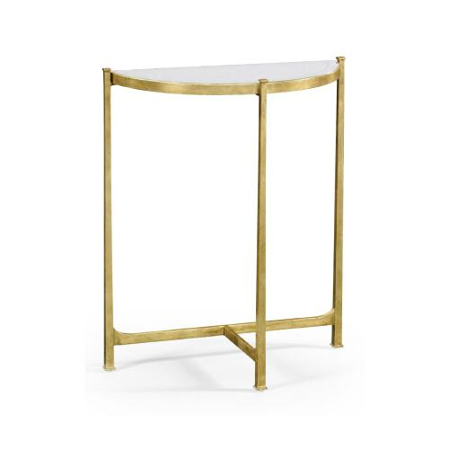 Small glomise & Gilded Iron Demilune Console