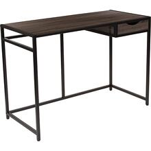 See Details - Homewood Collection Driftwood Finish Computer Desk with Pull-Out Drawer and Black Metal Frame