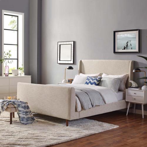 Aubree Queen Upholstered Fabric Sleigh Platform Bed in Beige