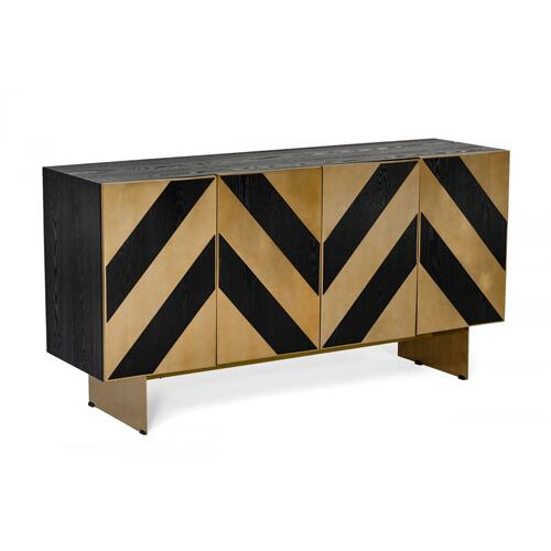 Modrest Perret - Glam Black Ash & Brass Gold Modern Buffet