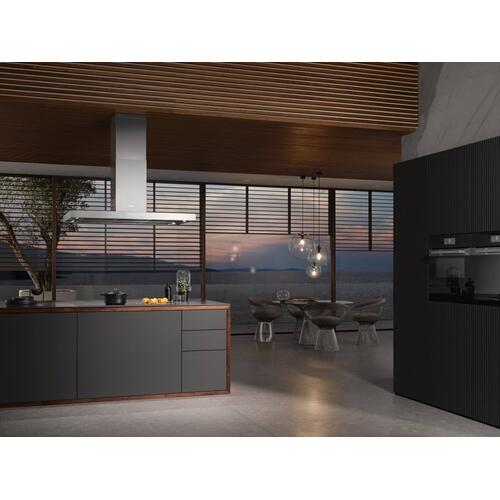 DA 4248 V D Puristic Varia - Island décor hood with energy-efficient LED lighting and backlit controls for easy use.