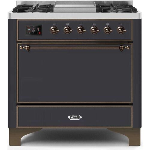 36 Inch Matte Graphite Dual Fuel Natural Gas Freestanding Range