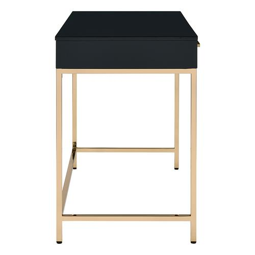 Office Star - Alios Desk In Black Gloss Finish With Gold Frame